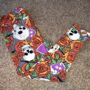 LuLaRoe TC2 Halloween Skull Rose Leggings 18-24